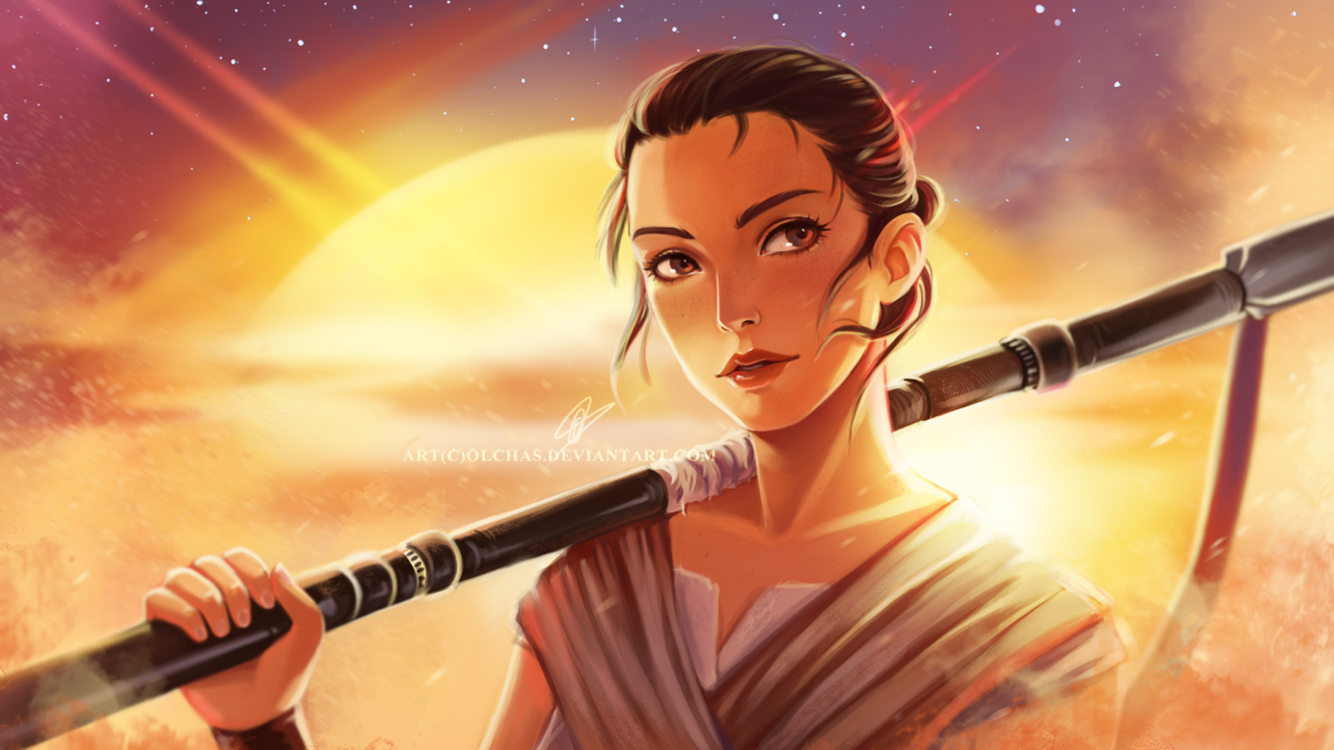 Olga solovian star wars 7 rey wallpaper by olchas