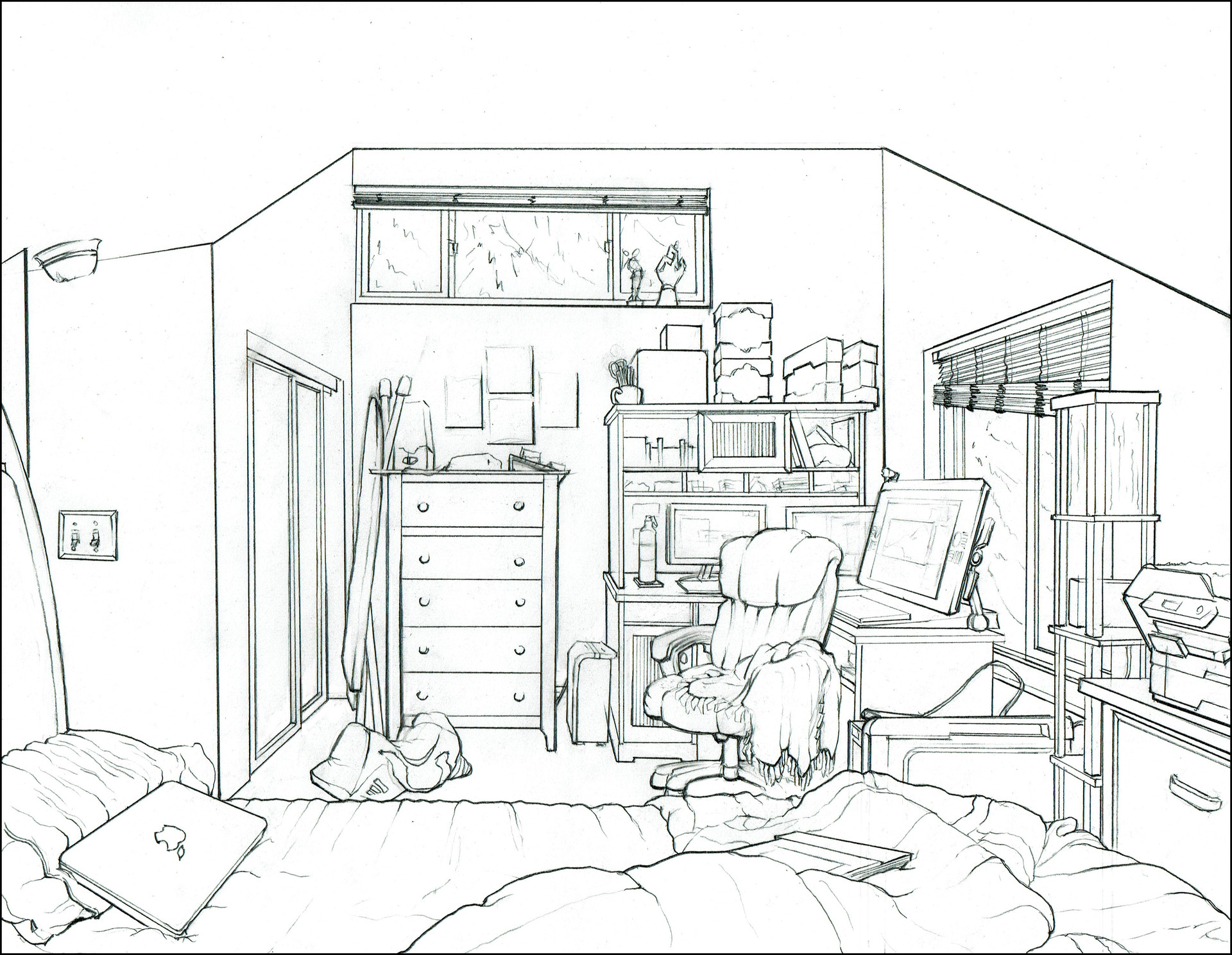 Charles wallace interior drawing of my bedroom for Bedroom designs sketch