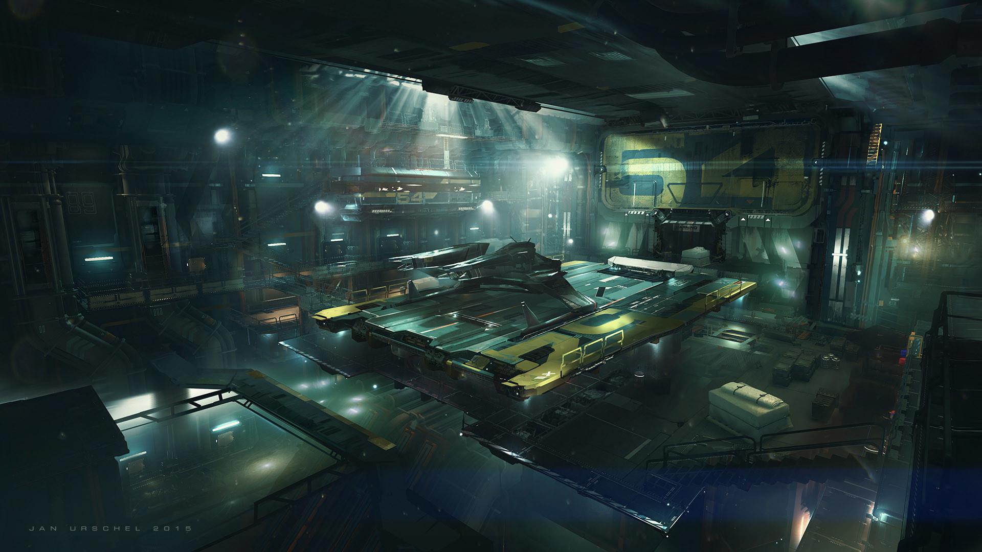 Sci Fi Hangar Concept Art