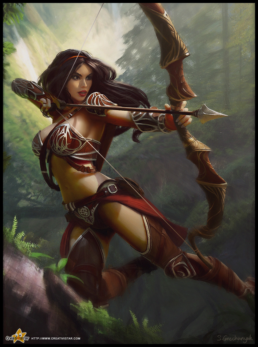 Fantasy female archer speaking