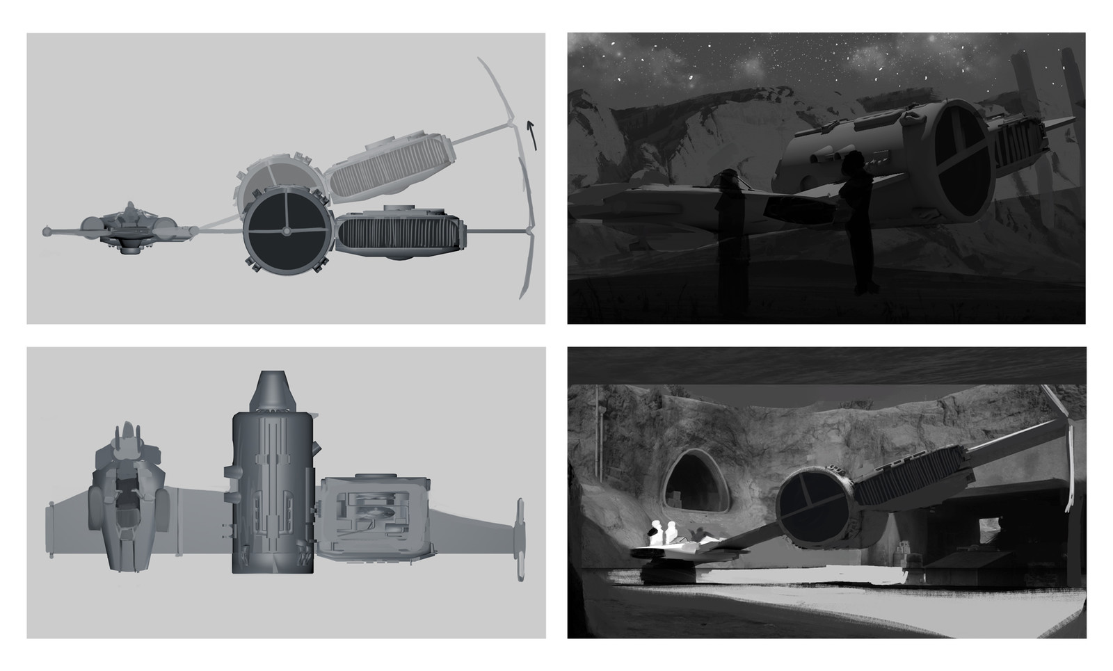 Rough views and compositions for the final image.