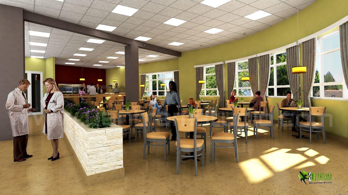 3D Hospital Lobby Interior Design Rendering