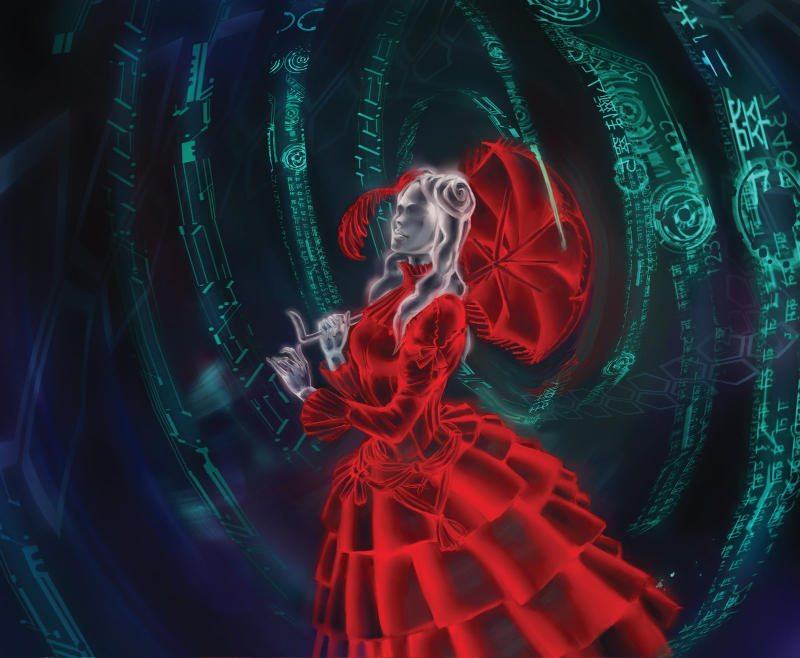 Bruno balixa netrunner woman in red dress by jumpei d6y7kfk