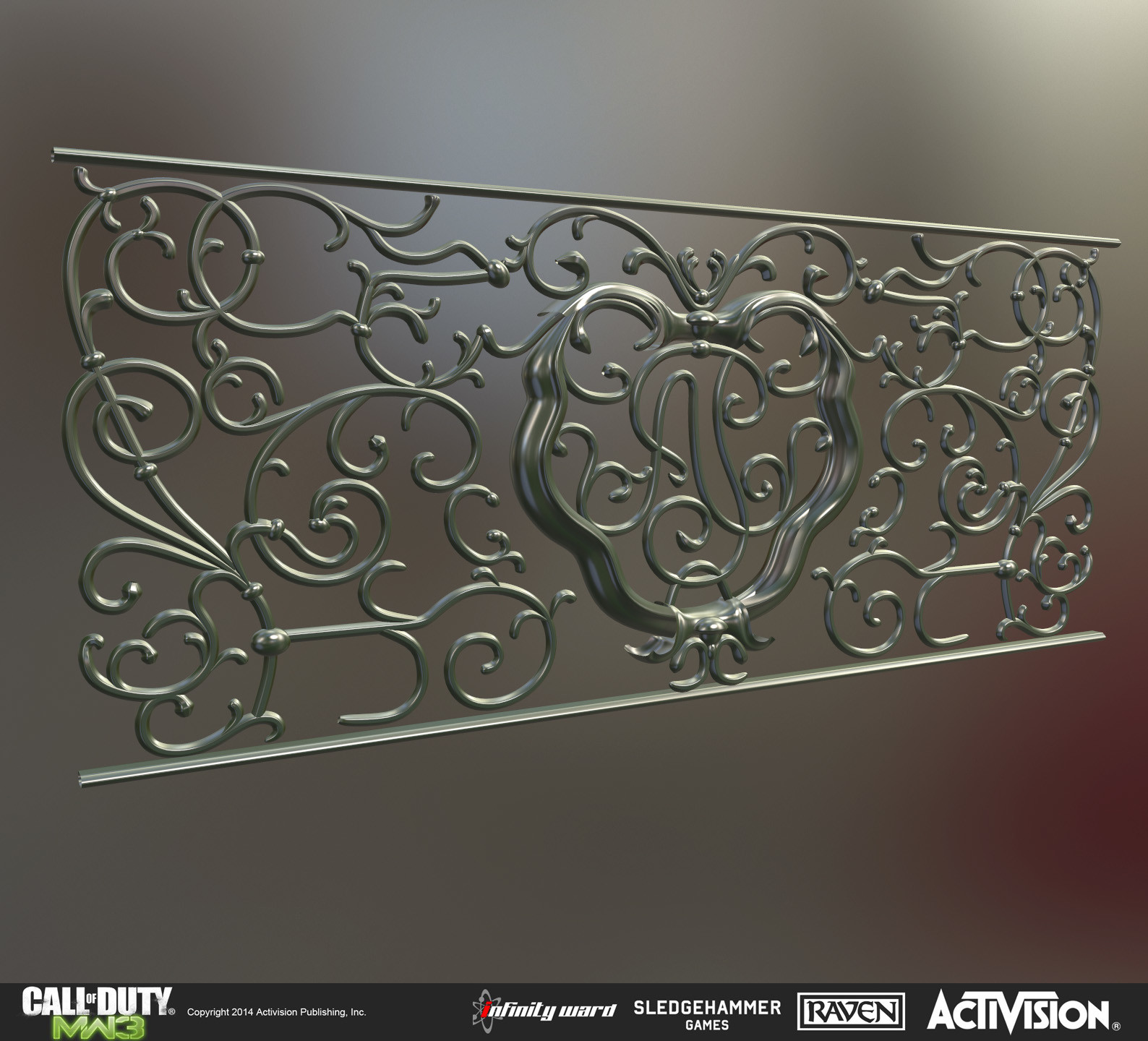 High poly of decorative iron work for multiplayer map Parish.