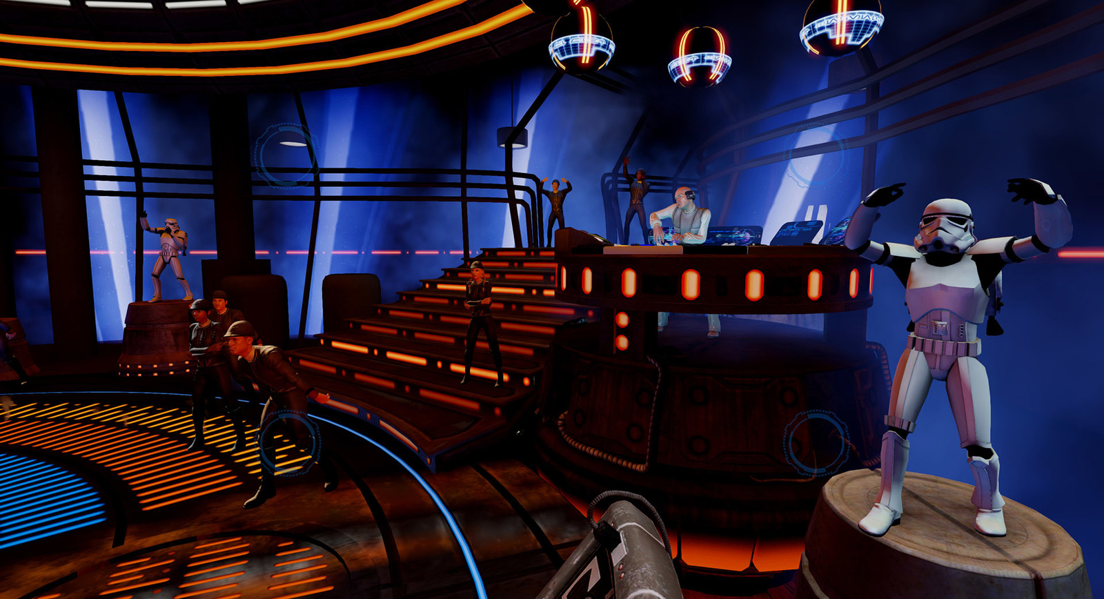 Bespin / Cloud City Dance level.  Many people had touched on this over the course of the project this starting as a Jedi mode level. I worked on final clean up and creation of the DJ Booth and many of the glowing light stripes.