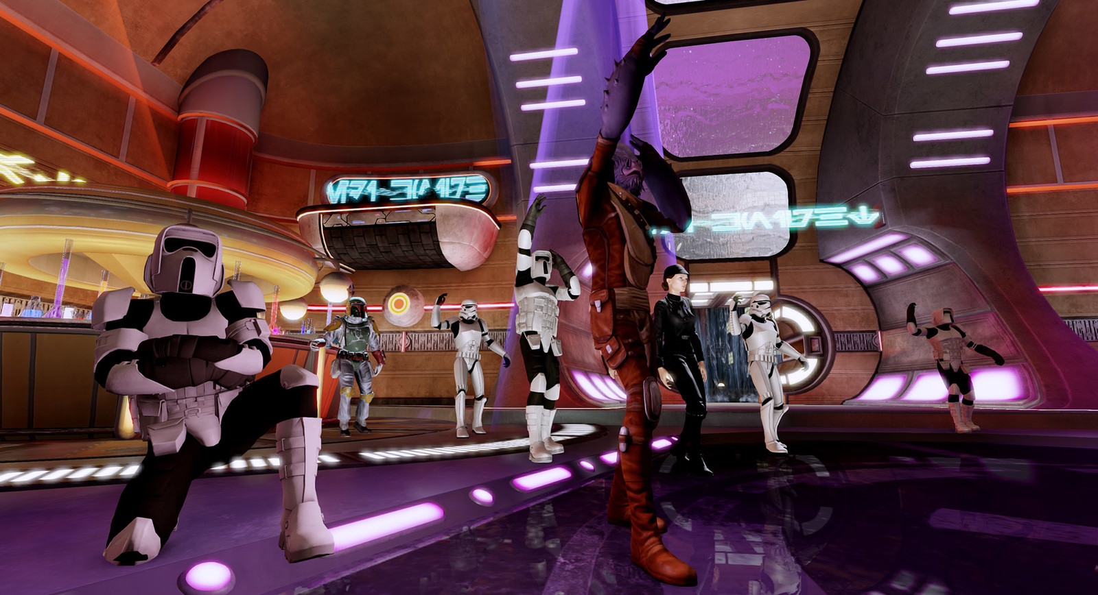 Coruscant Dance Level. Cleaned up outsourced level I recreated the walls and ceiling and added a DJ Booth to the wall.