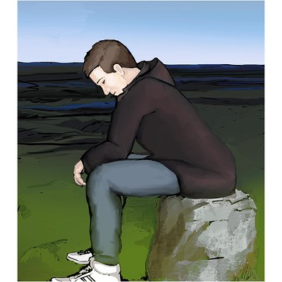 Becs teall sitting on rock