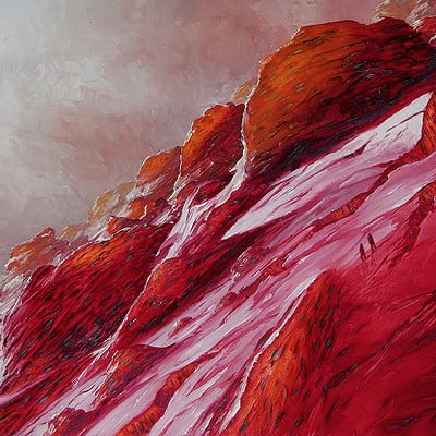 "Up red mountain -for sale 19.6x27.5"" (50x70cm)"