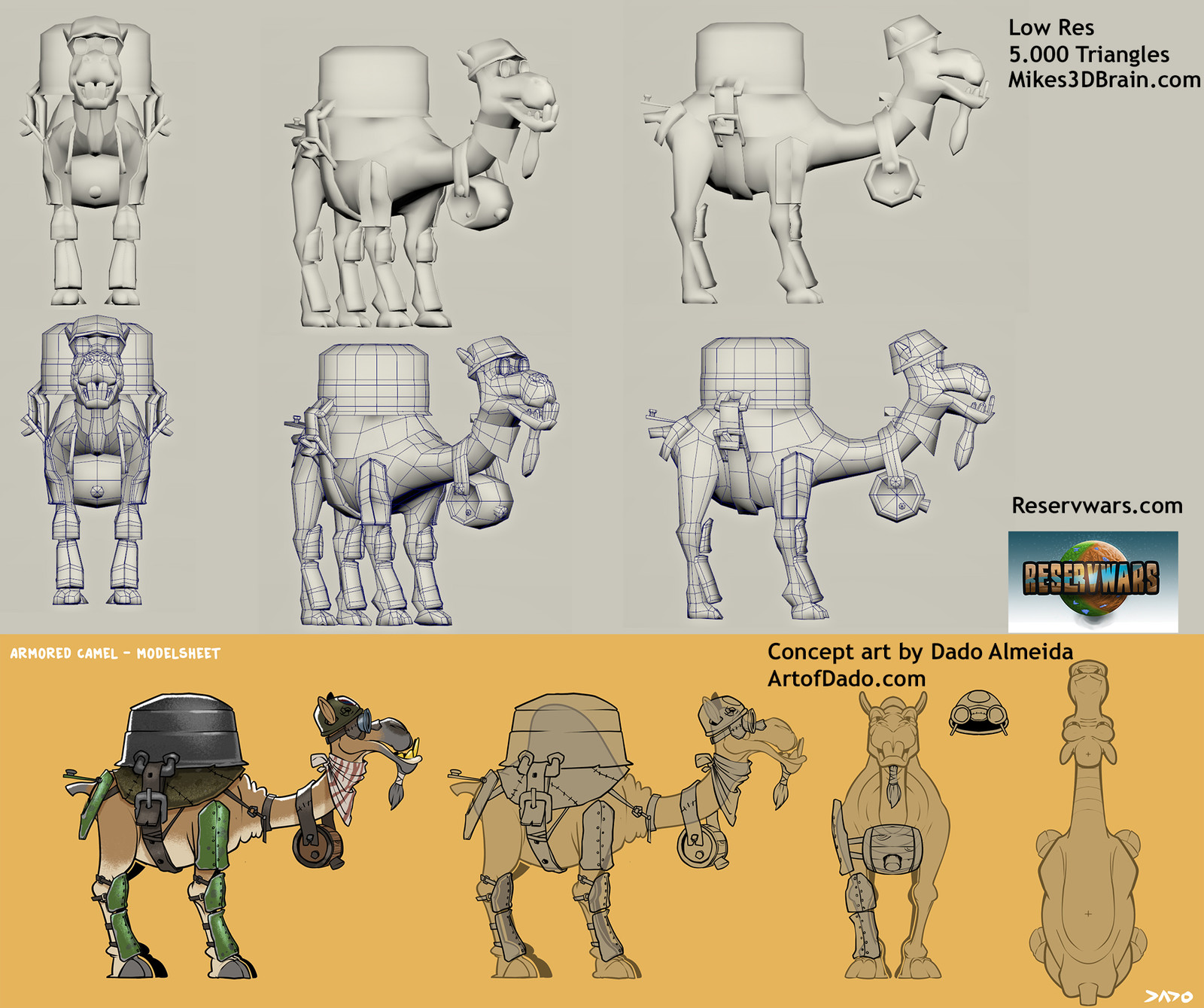 Modeling Sheet with the original concept art.