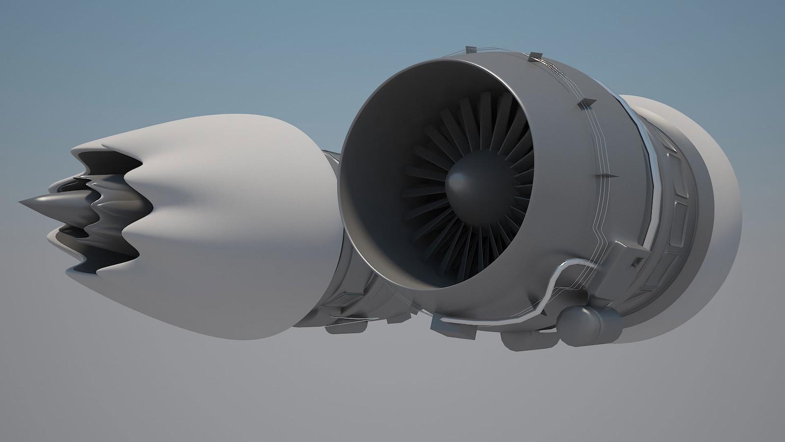 Civilian Turbofan Engine Render
