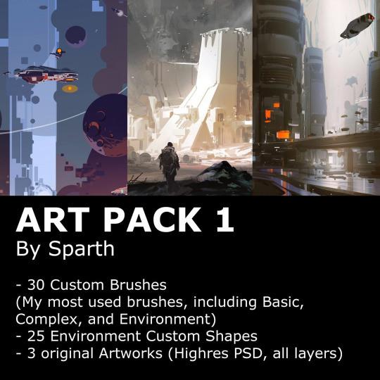 ArtStation - Sparth - brushes + Artpack, sparth