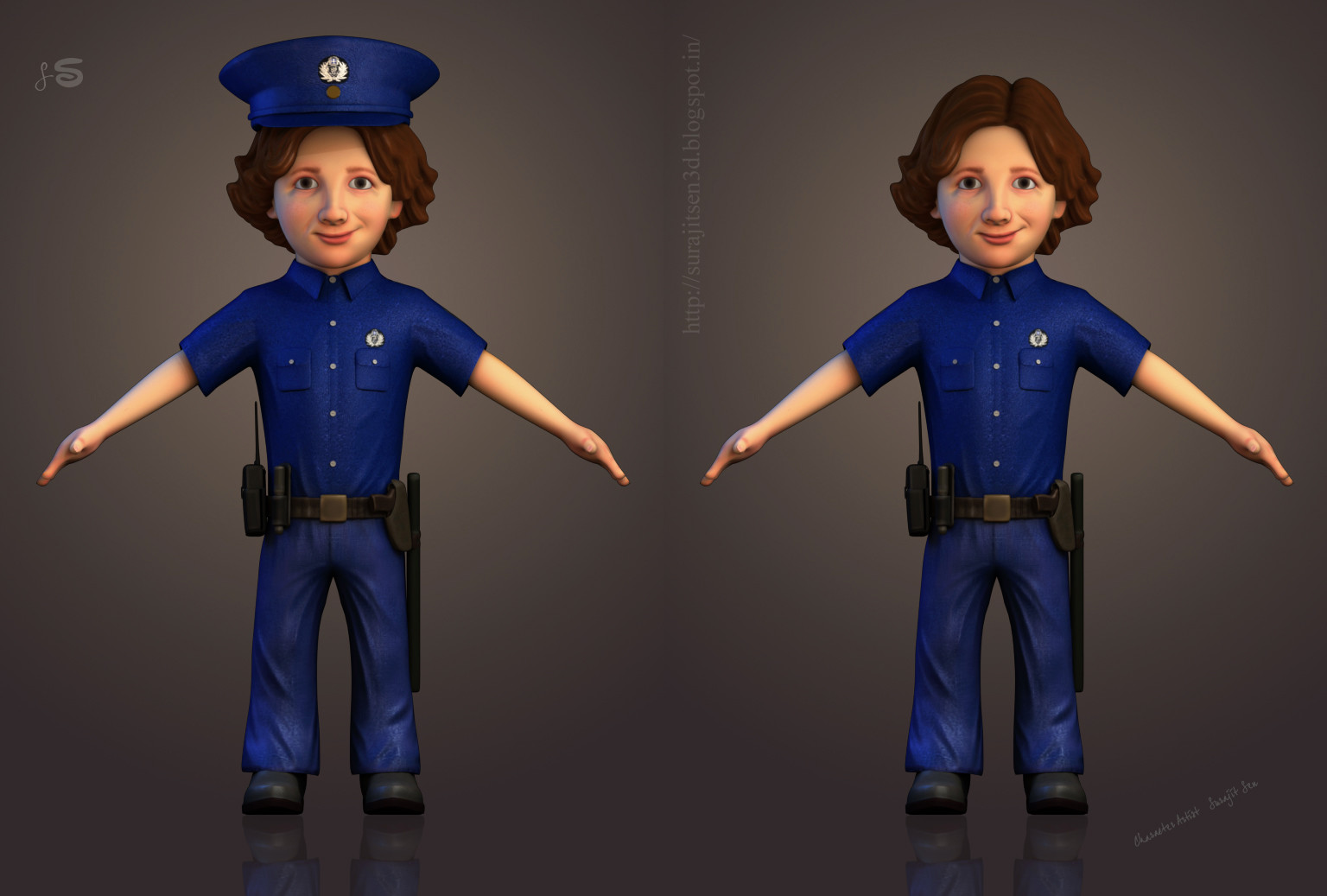 Kid Police- 3D Character by Surajit Sen