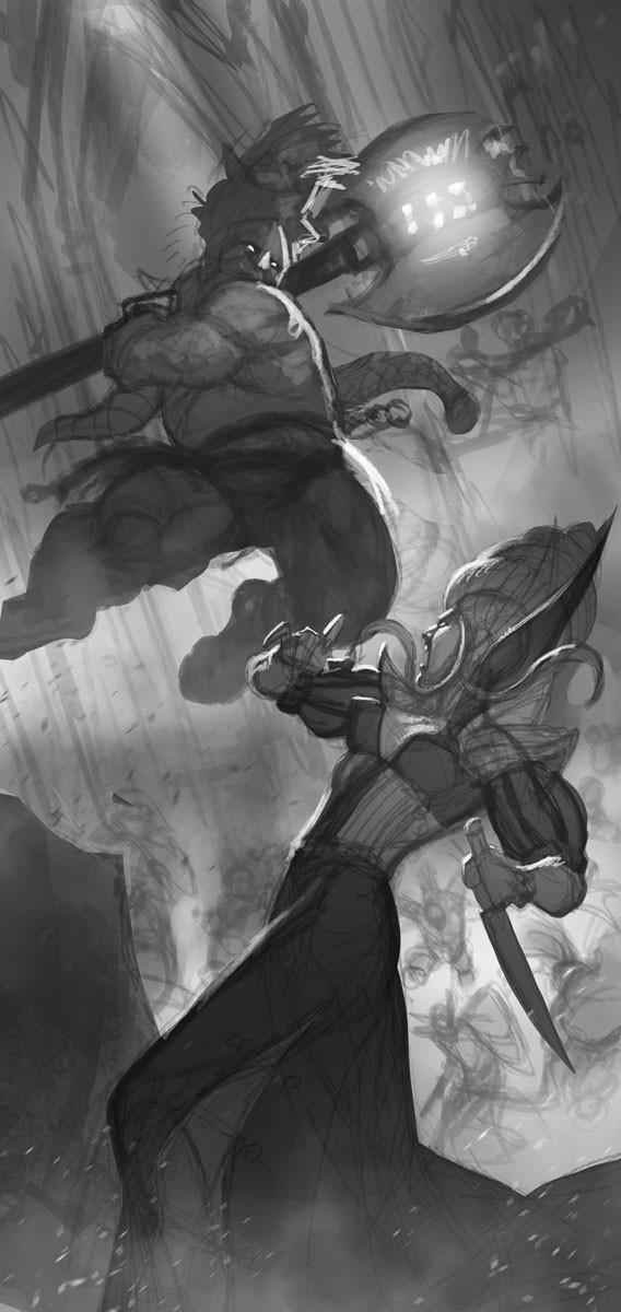 Rafael teruel grimwrath berserker vs vampire by rafater sketch