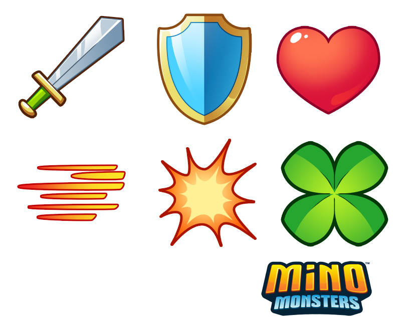 Stat icons for Mino Monsters.