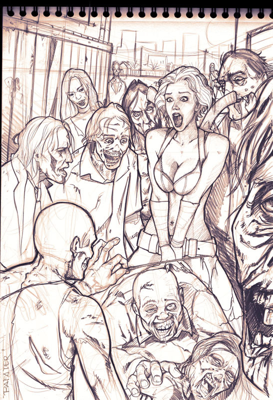 Rafael teruel rafater horny zombies walking dead resident evil pencil drawing