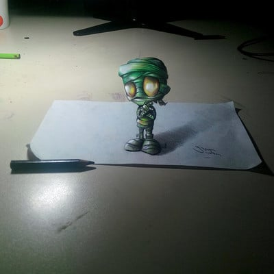 Yasar vurdem 3d anamorphic amumu painting from leagueoflegends by vurdem d7on95d