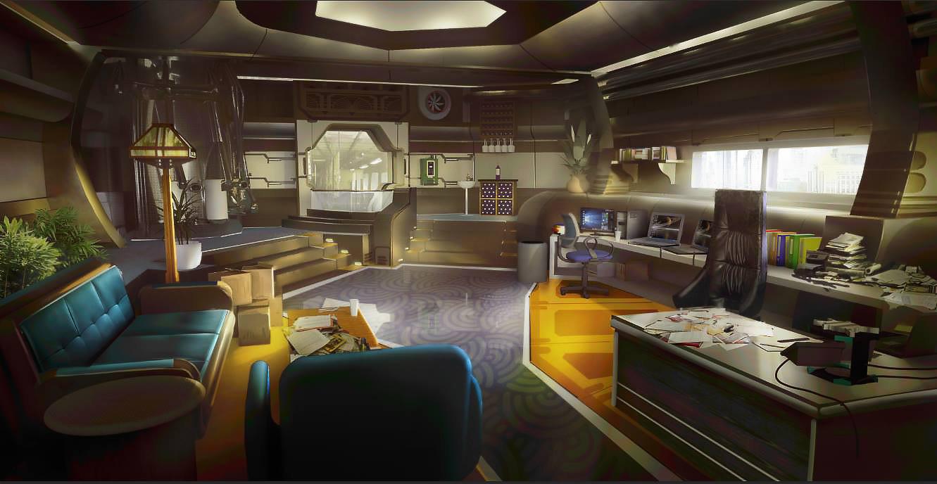 Artstation sci fi office tyler edlin for Interior decoration in home science