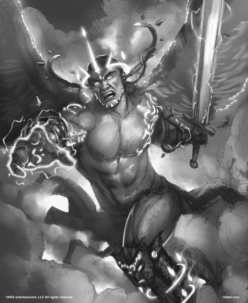 Rafael teruel hex tcg 01 angel of glory sketch by rafater