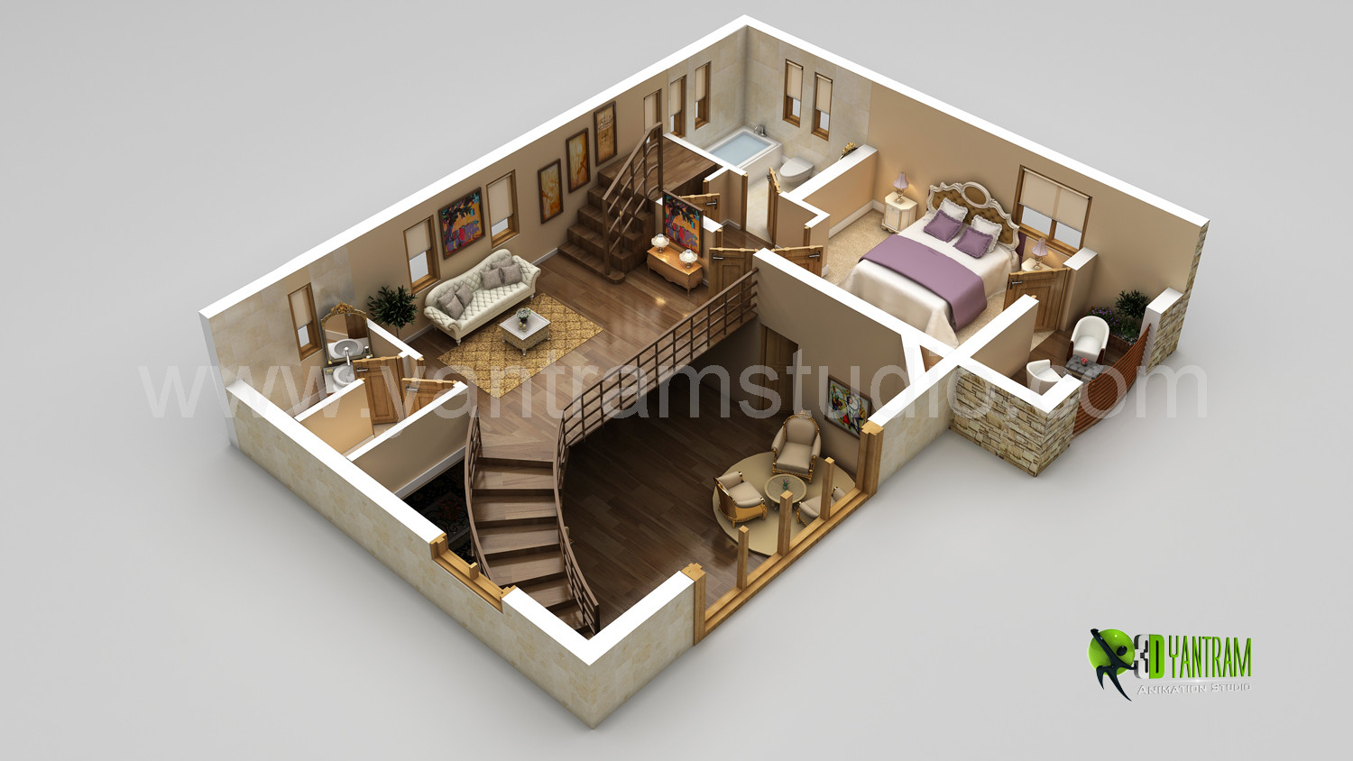 Studio Plans And Designs artstation - the best modern 3d floor plan rendering - california
