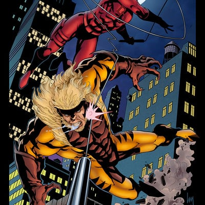 Matt james daredevil vs sabertooth by mattjamescomicarts d9py728