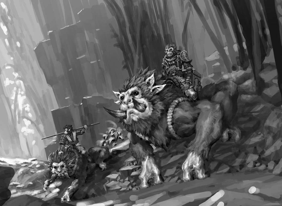 The initial grayscale version, ended up repainted the entire image