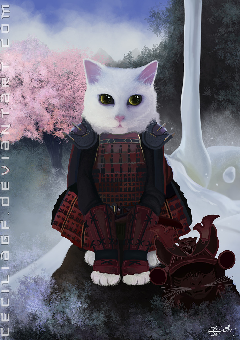 Commission - Sam, the Samurai cat