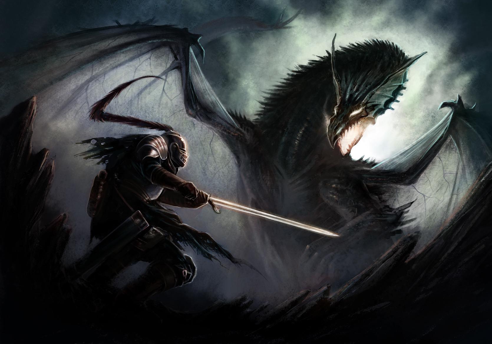 большой рисунки фото дракона с мечом формой