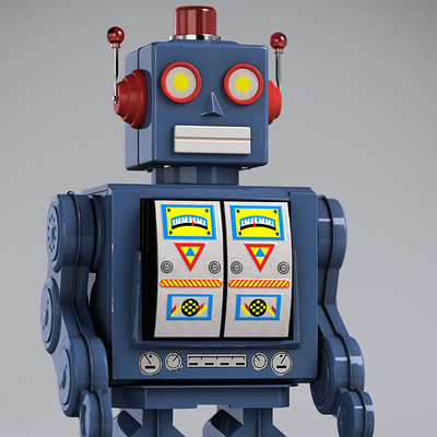 Adam sacco tin robot toy by adam sacco
