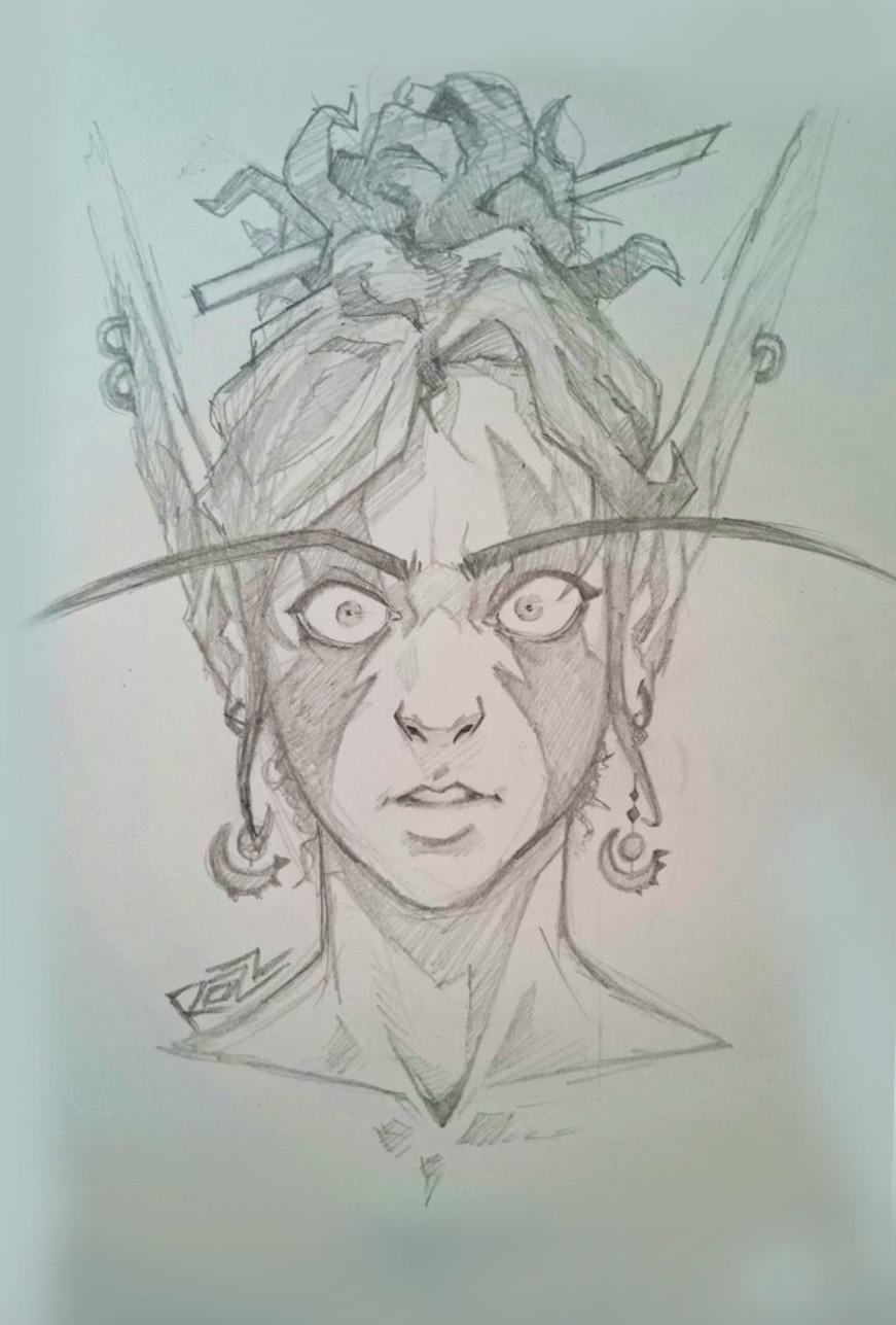 A4 paper pencil sketch