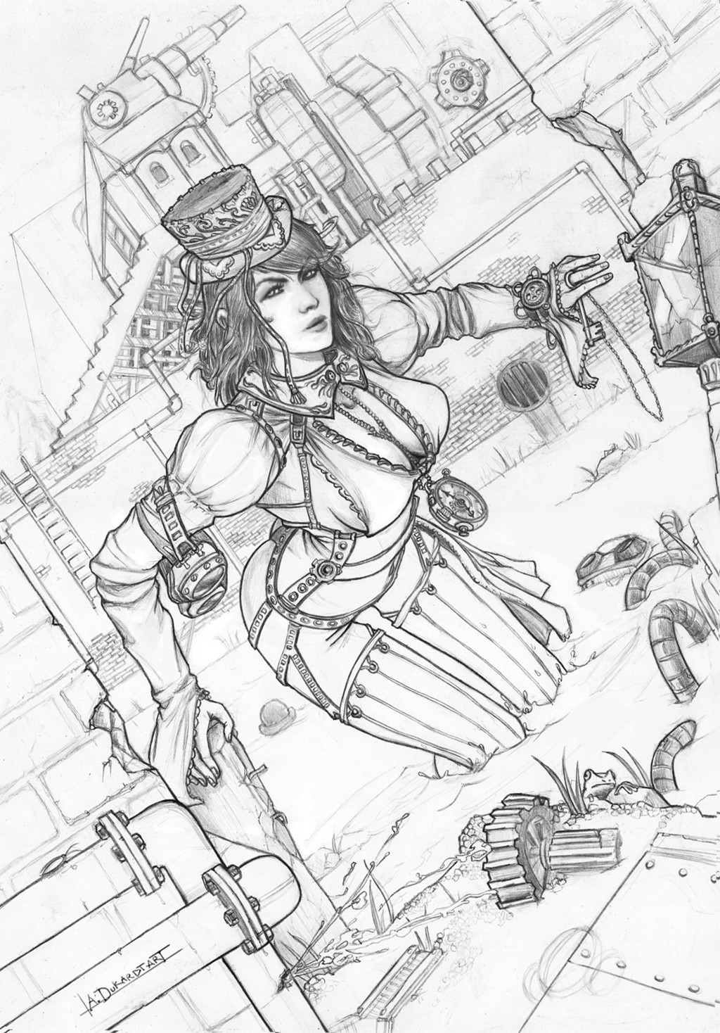 Alan dukardt steampunk lineart girl