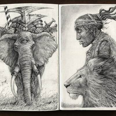 Sabin boykinov elephant and lion copy