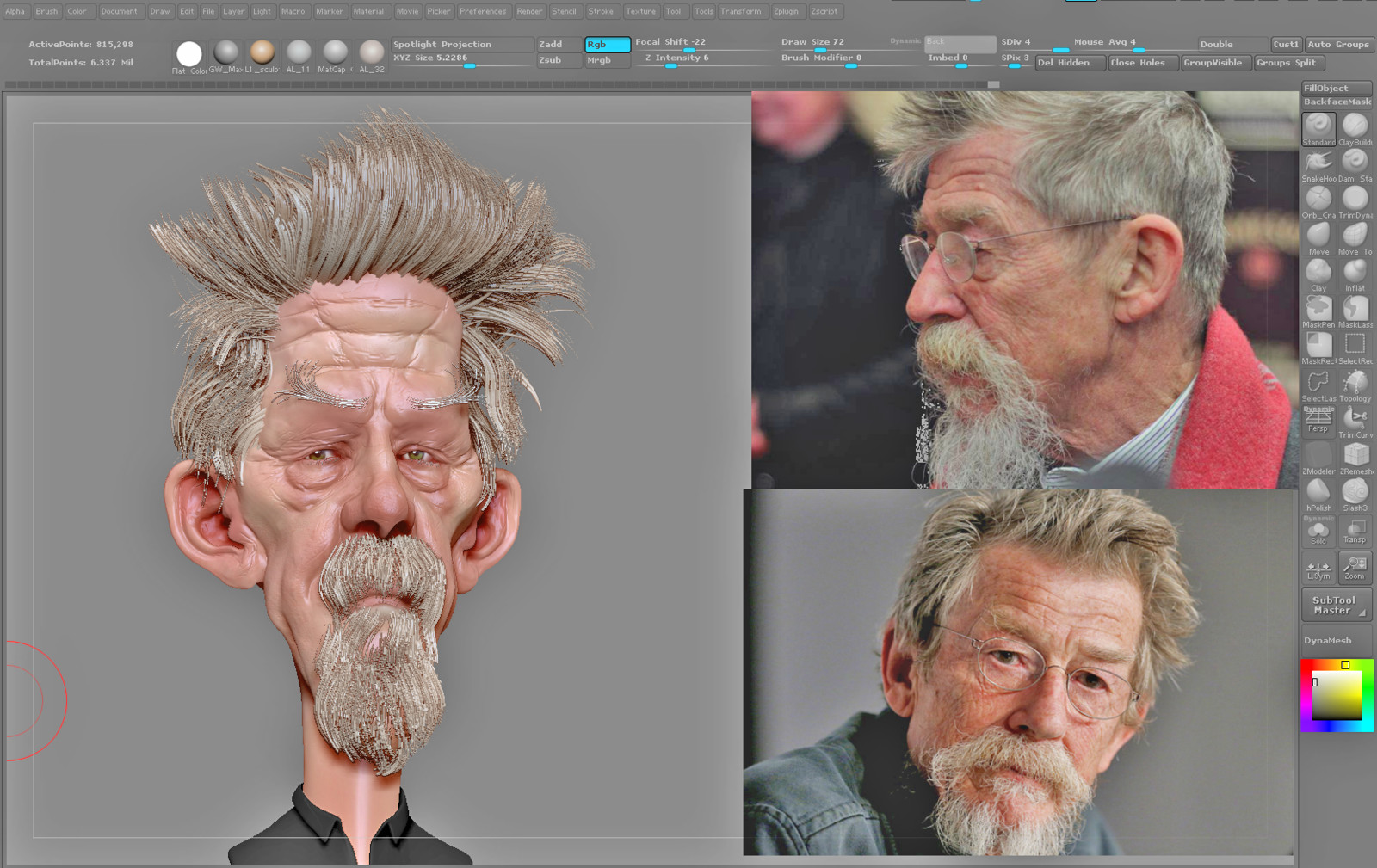 Speed sculpt zbrush WIP of John Hurt based on 2D concept by David Boudreau