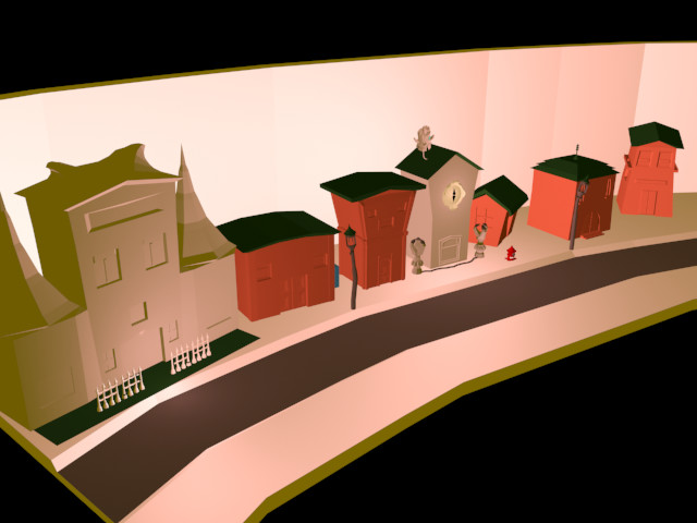 The street in an early un-textured stage.