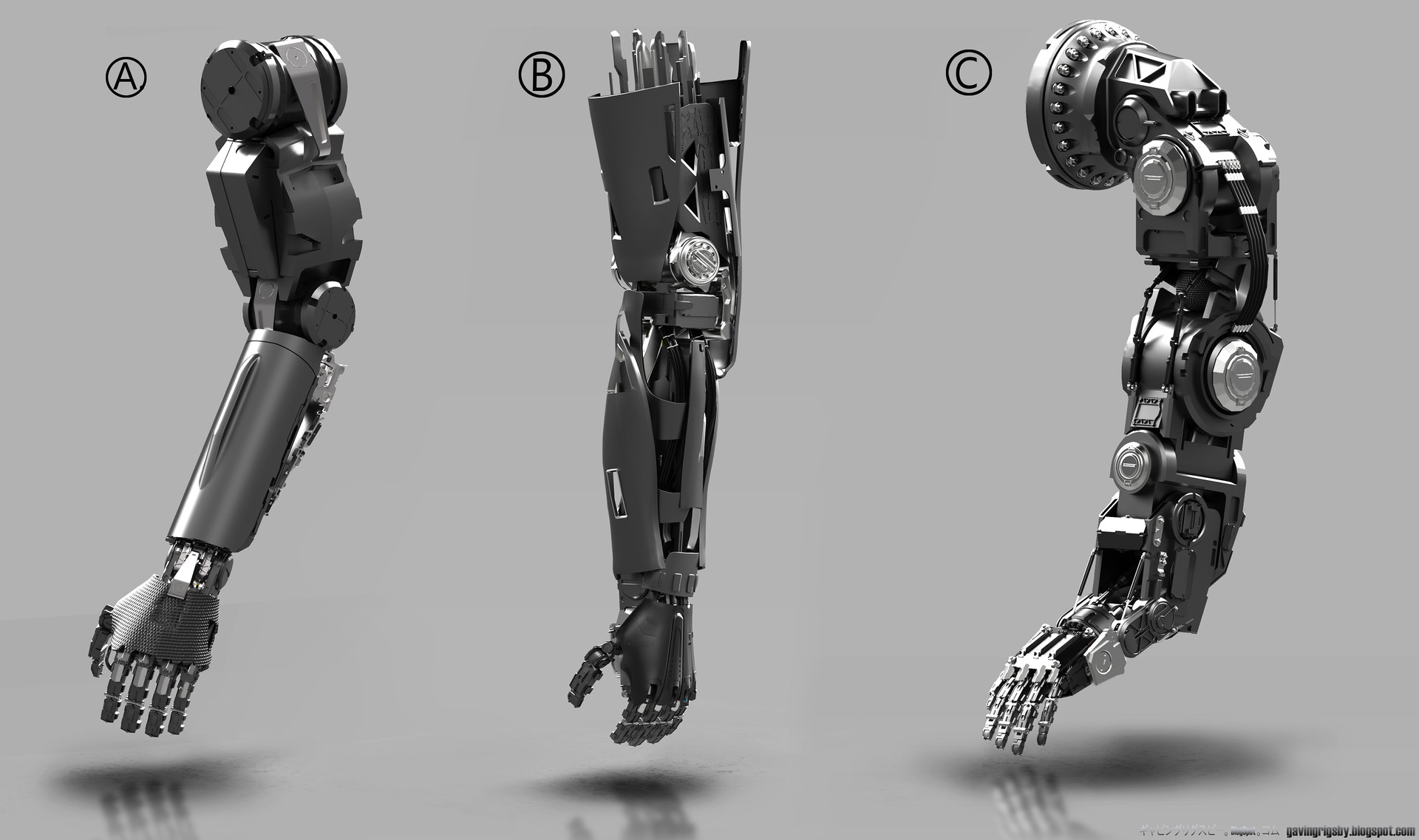 ArtStation - Personal Work-Droid ARM Development Sketches, Gavin Grigsby