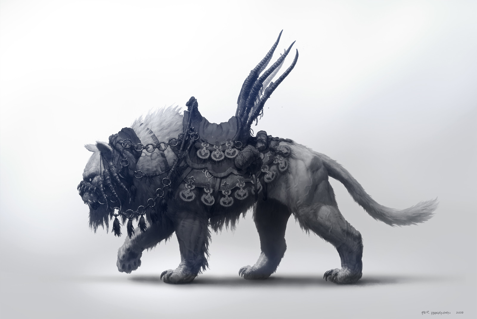 "Khitan Tiger Mount - Creature concept art for ""Age of Conan: Rise of the Godslayer"""