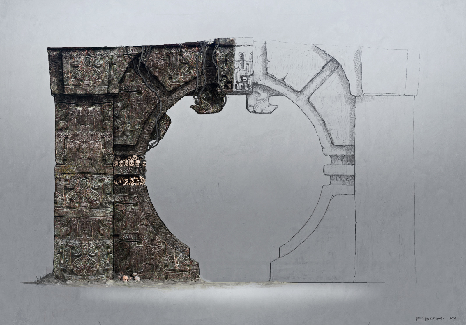 """Khitan Doorway concept art for """"Age of Conan: Rise of the Godslayer"""""""