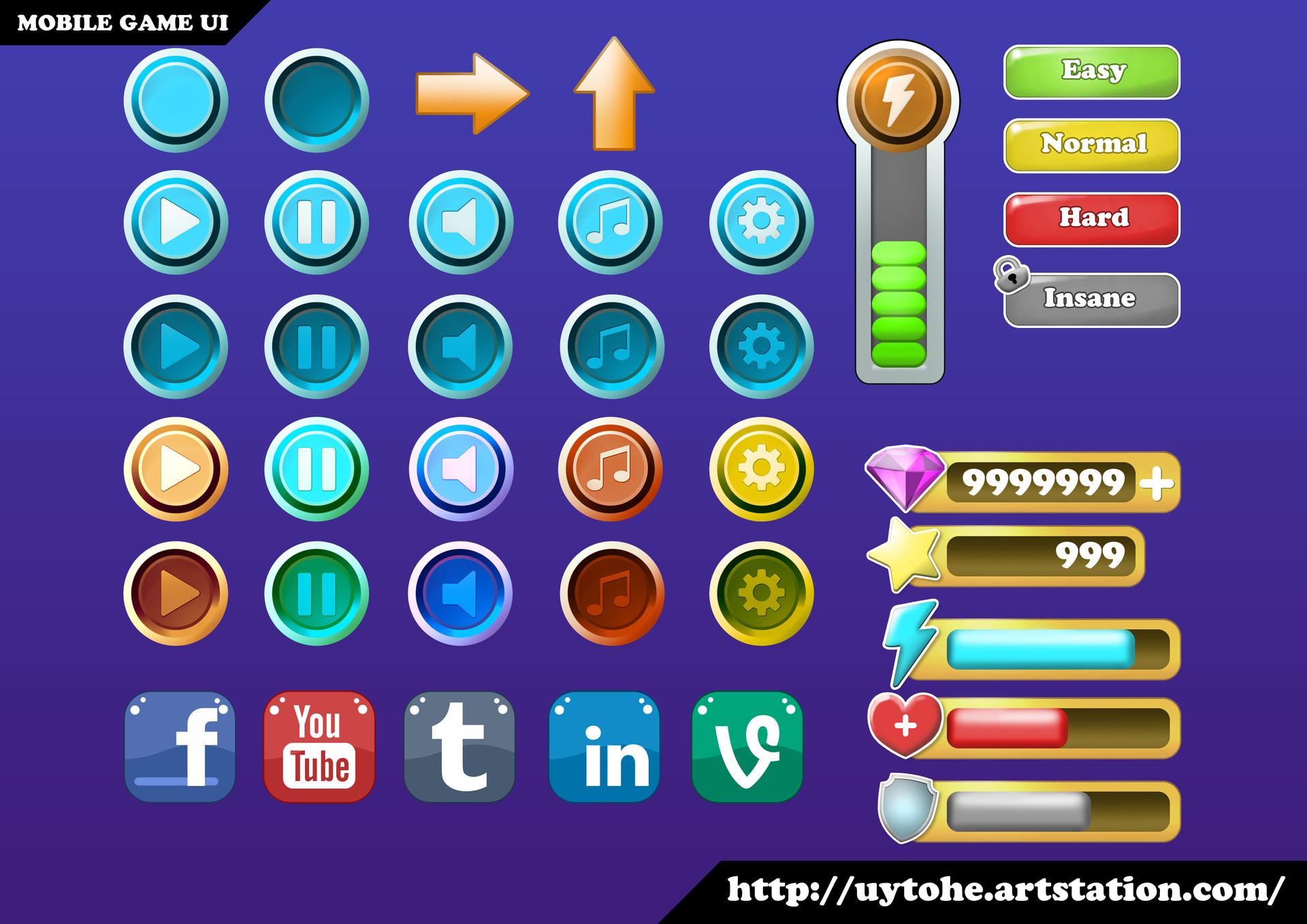 ArtStation - MOBILE GAME UI ASSETS, Uy Đoàn
