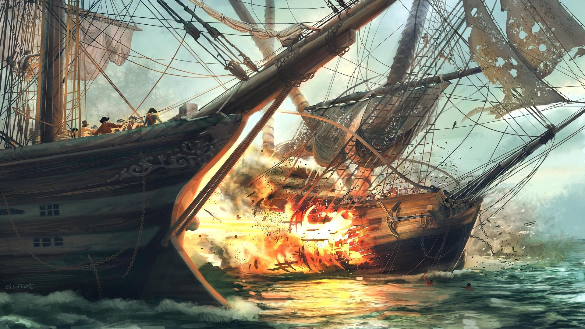 Quentin castel artstation colorimetrie illustration finale bataille navale