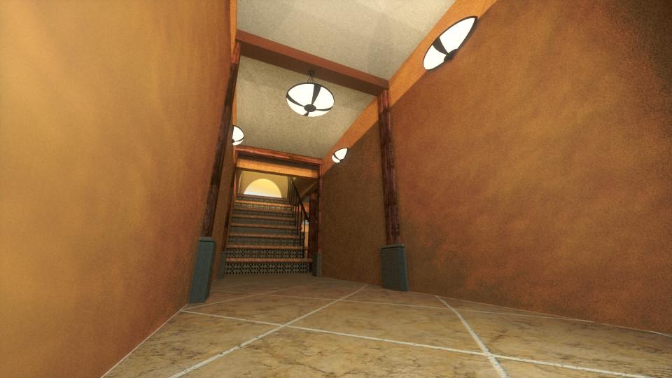 Entrance view, toward the stairs  Vista de Entrada, hacia  las escaleras
