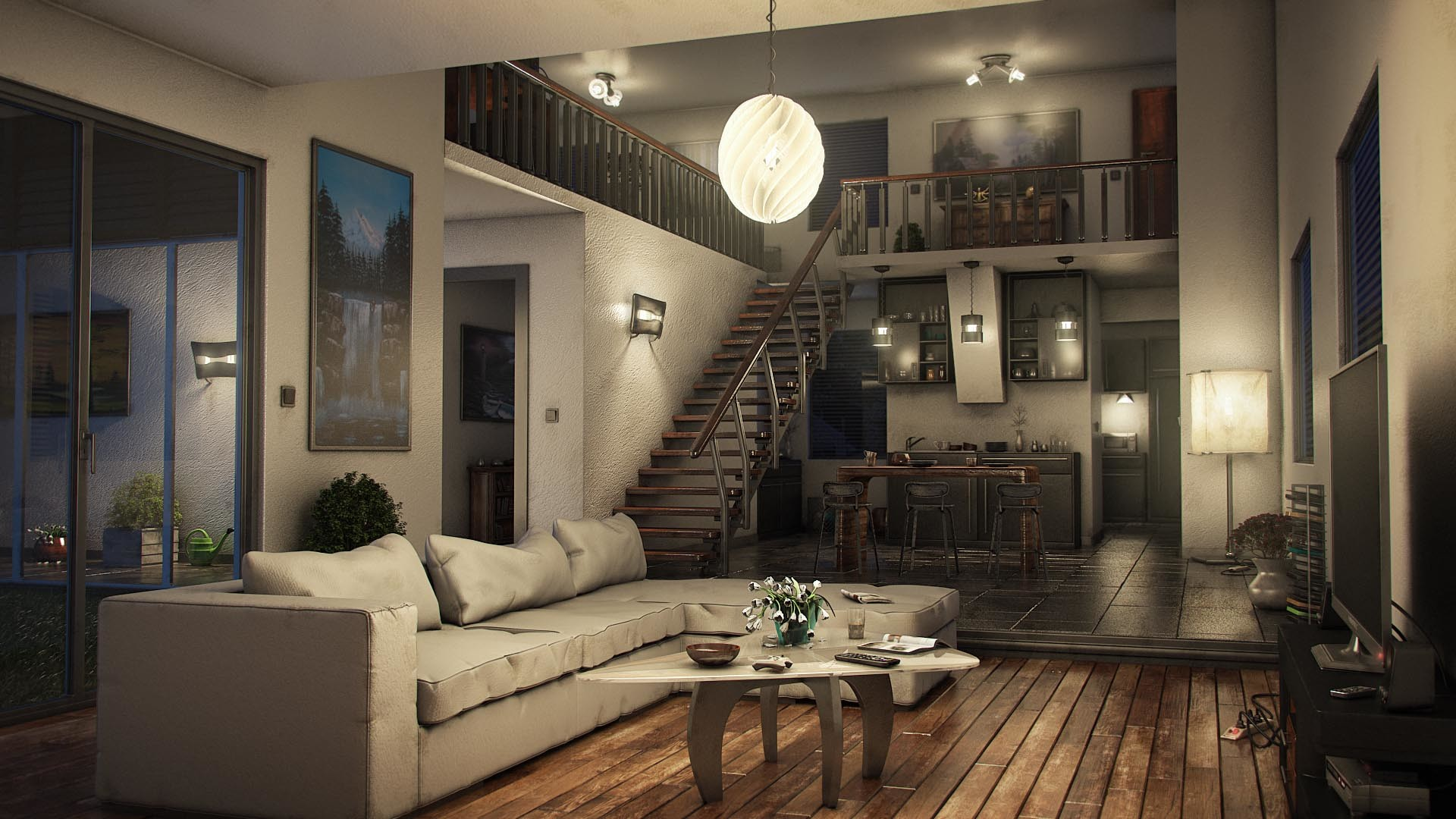 Artstation modern living room alexander lang for Modern day living room ideas