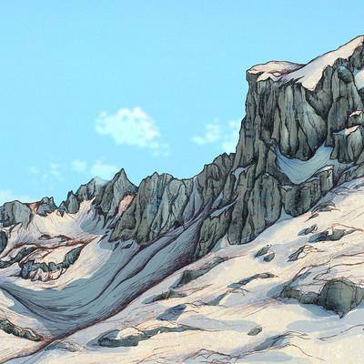 Autogiro illustration studio snow mountains