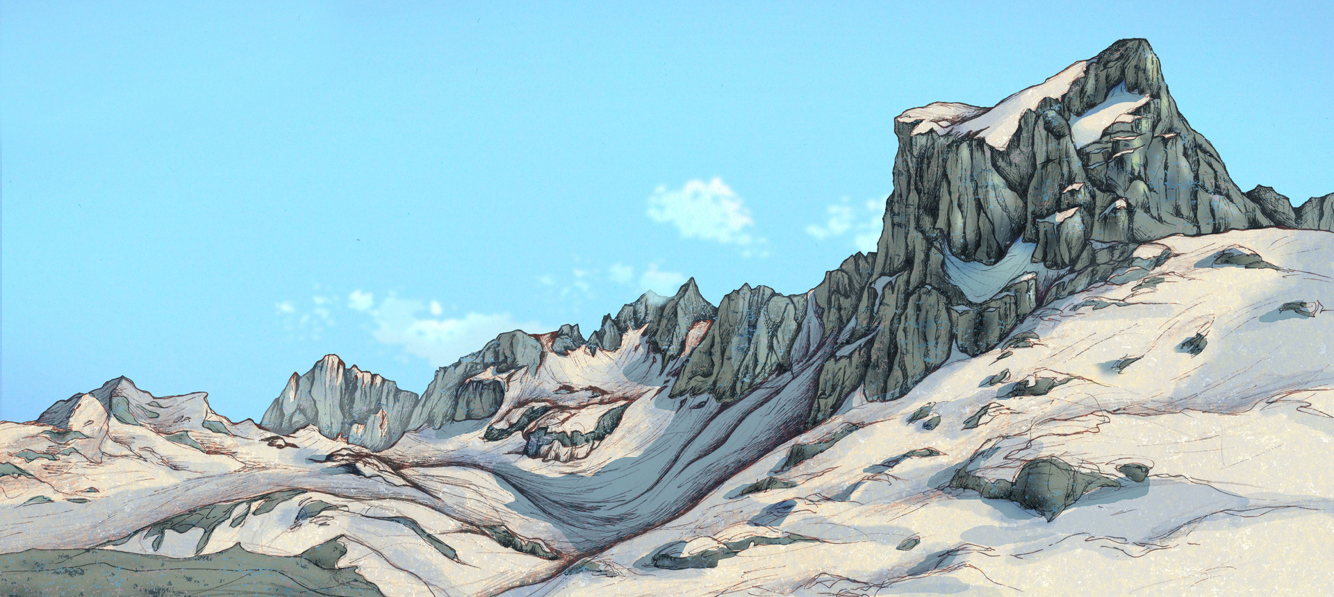 Autogiro illustration studio snow mountains