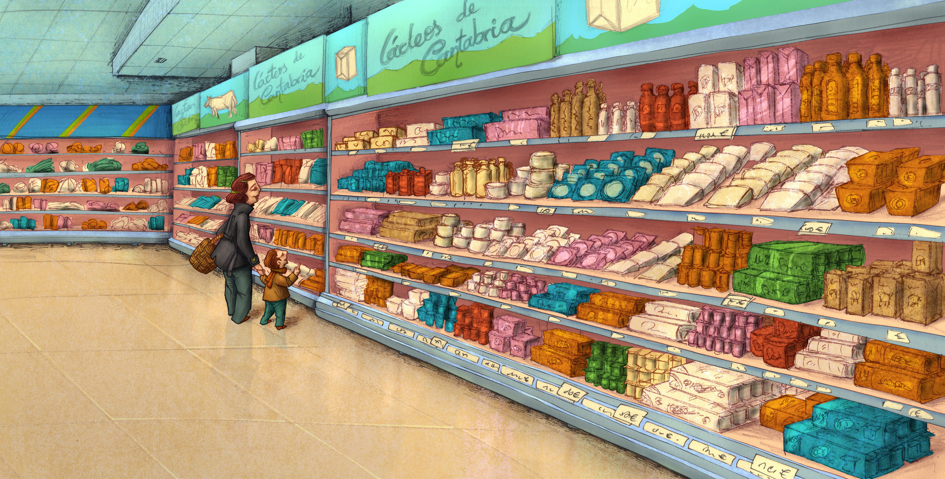 Autogiro illustration studio supermarket