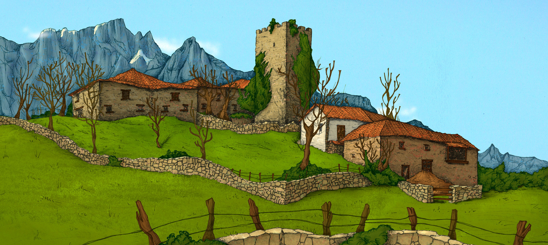 Autogiro illustration studio mountain village 3