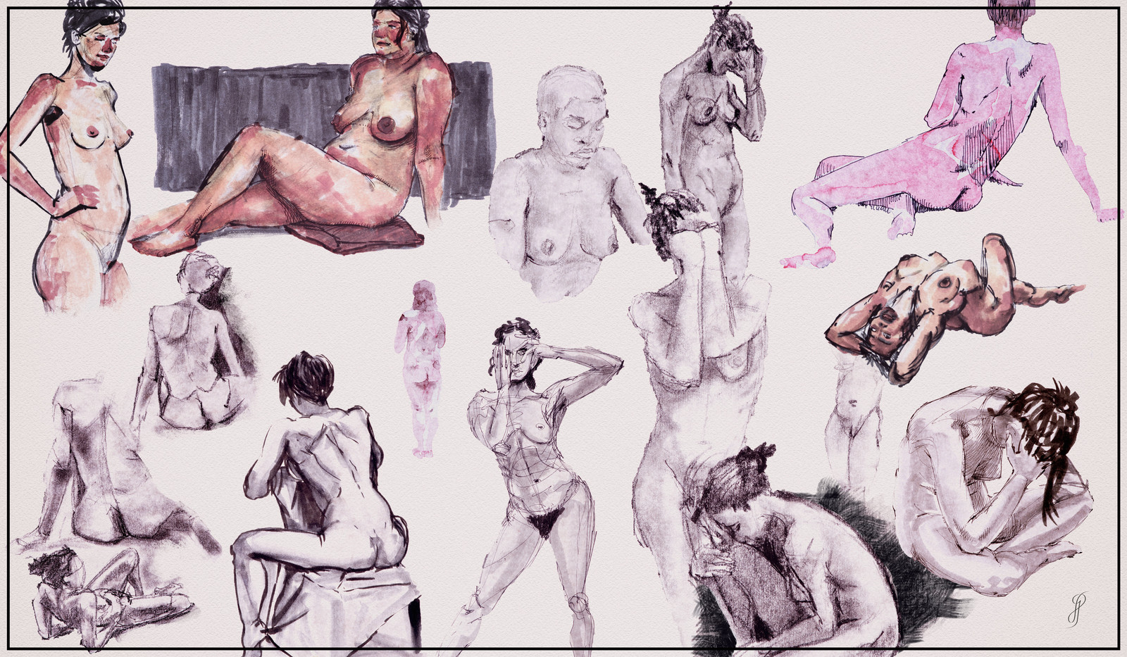 Female Nude Poses - Life Drawings
