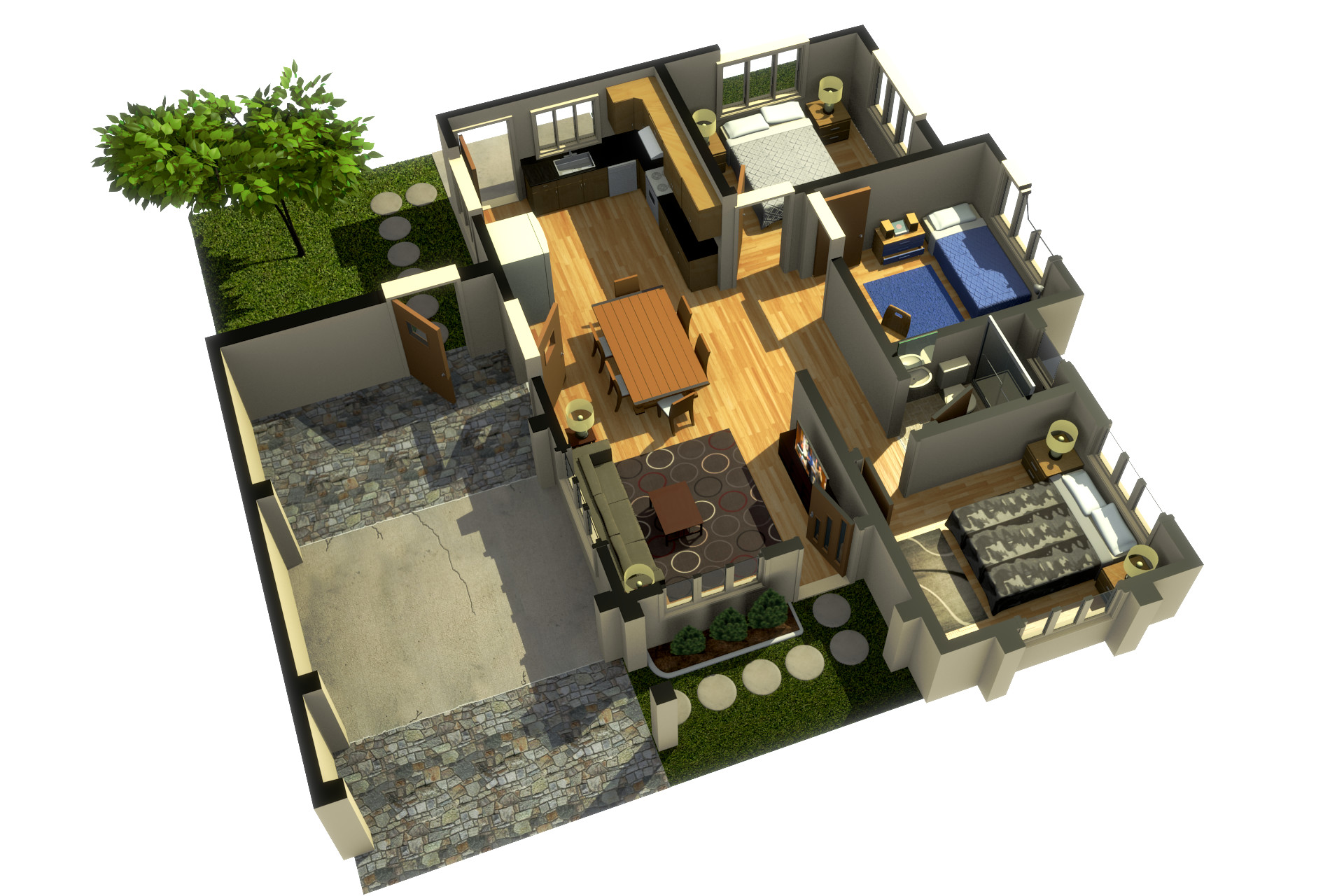 Garrett s small house 3d floor plan distribuci n de for Distribucion de casas modernas de una planta