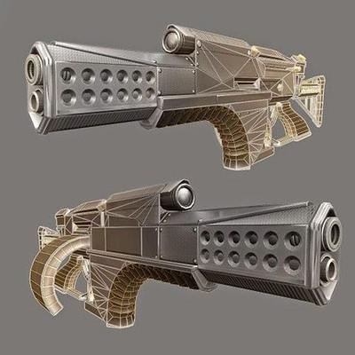 Dennis haupt futuristic weapon concept lowpoly 4