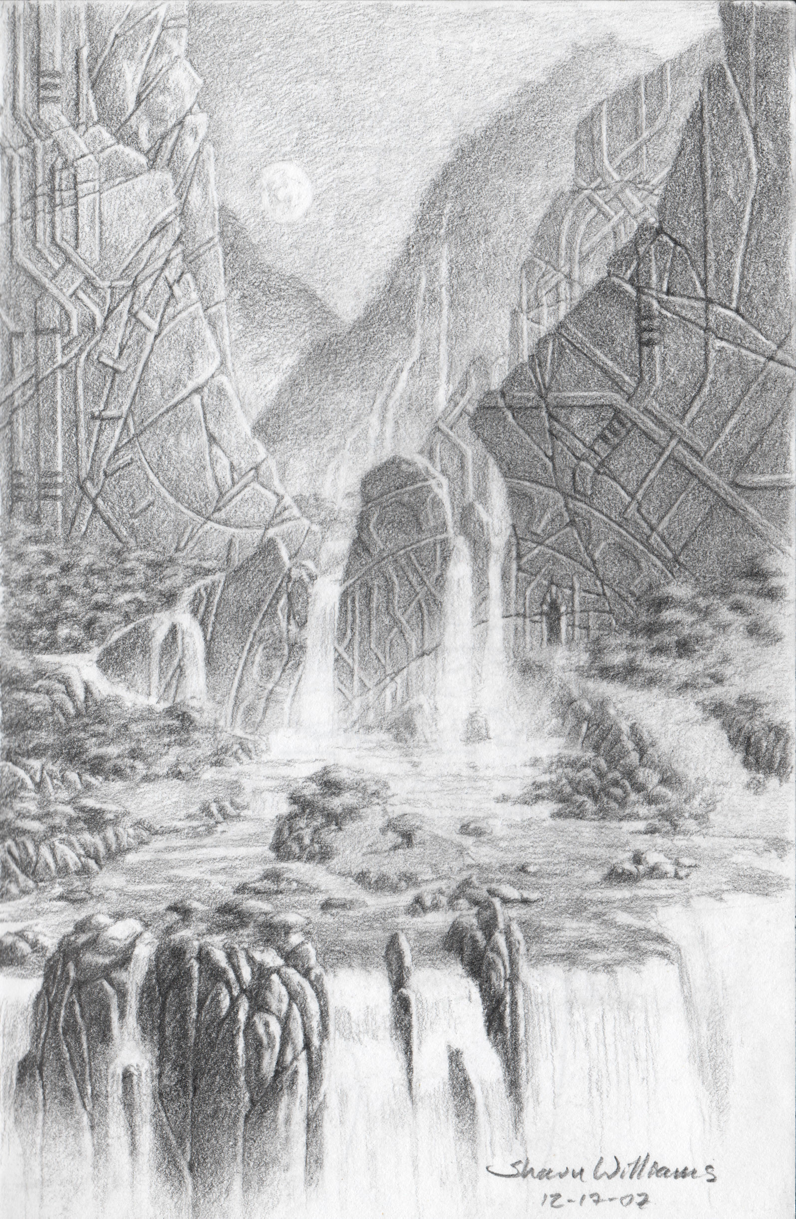 Shaun williams waterfall sketch concept