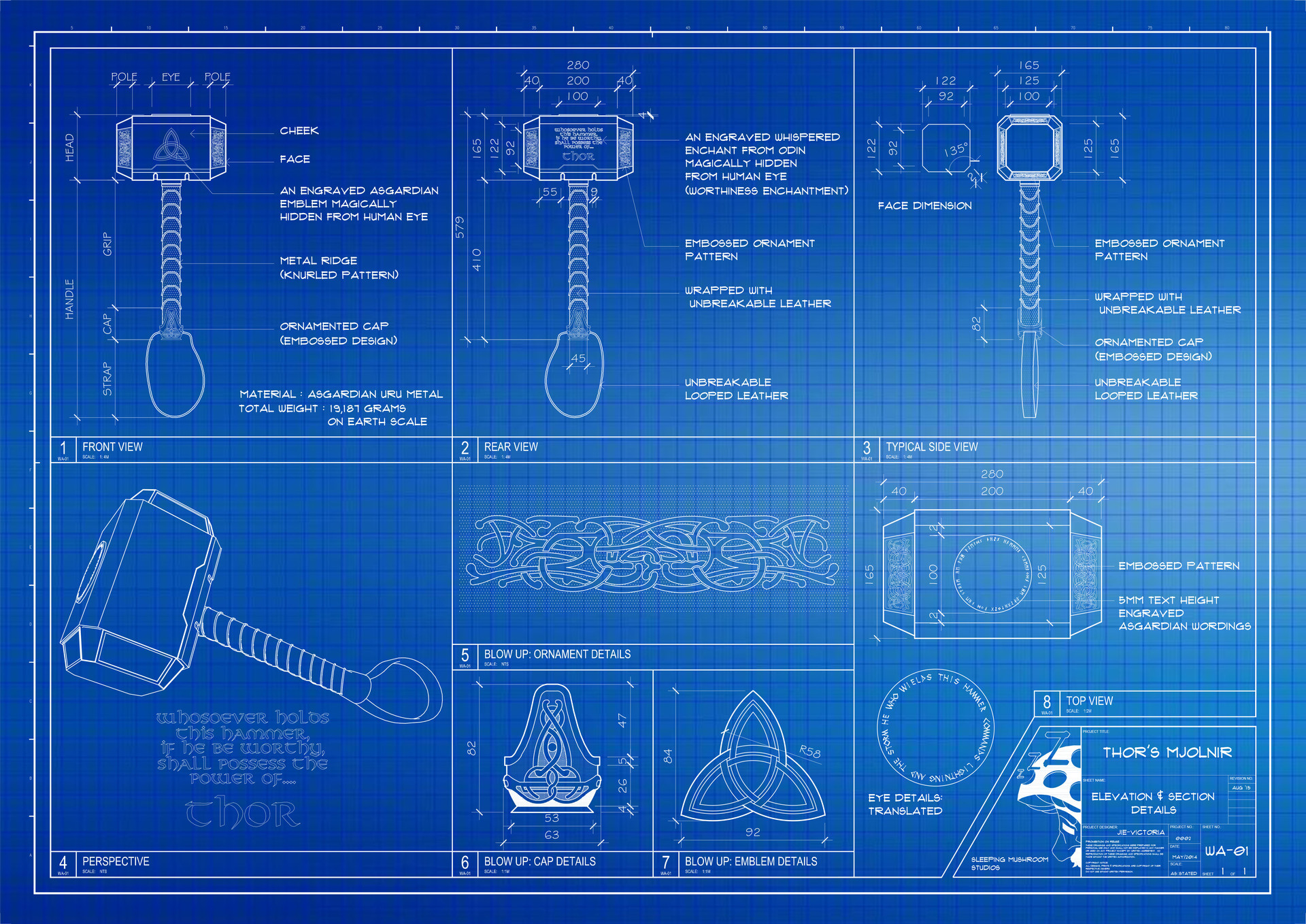 Artstation thors mjolnir blueprint jie victoria scroll to see more malvernweather Image collections