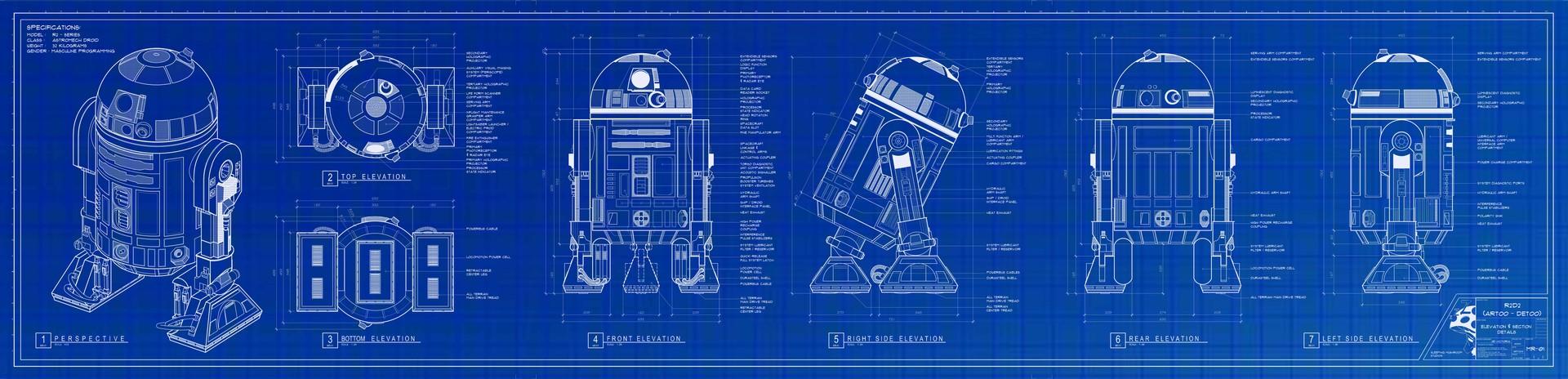 ArtStation - R2D2 Artoo Detoo Blueprint, Jie Victoria